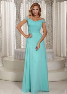 Simple Aqua Blue Off the Shoulder Dress for Prom Princess with Ruched Bodice