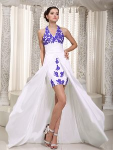 Appliqued White and Purple High Low Ruched Prom Dresses with Halter Top