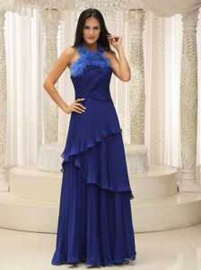 Halter Ruffled and Pleated 2013 Prom Dresses for Debutante Ball in Royal Blue