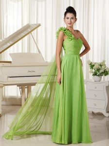 One Shoulder Flowery Chiffon Prom Dress with Watteau Train in Spring Green