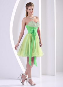 Beadings Decorated Sweetheart Multi-color Dress for Prom Princess with Sash