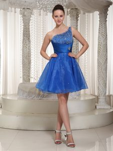 Royal Blue Organza One Shoulder Dresses for Prom Court with Beaded Bodice