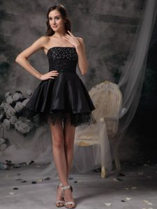 Beautiful A-line Strapless Little Black Dress Dress for Prom Princess in