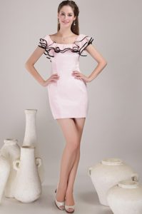 Latest Mini-length Satin Square Prom Dress for Women in Baby Pink