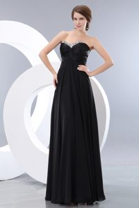 Memorable Ruched and Beaded Zipper-up Long Prom Evening Dress in Black