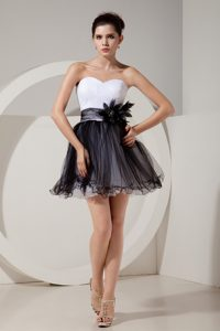 Elegant Black and White Sweetheart Zipper-up Tulle Dresses for Prom Court