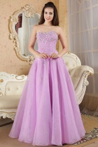 New Lavender Organza Beaded Lace-up Prom Holiday Dress in Floor-length