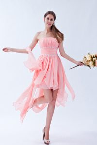 Watermelon Ruched and Beaded Memorable Chiffon Prom Dress for Ladies