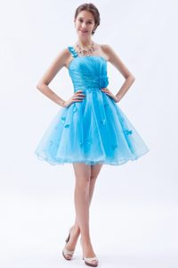 One Shoulder Appliqued Wonderful Short Dress for Prom Court in Baby Blue