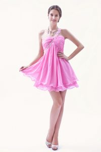 Discount Rose Pink A-line One Shoulder Prom Court Dresses with Ruches