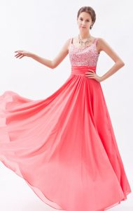 Coral Red Elegant Beaded Dress for Prom Queen with Straps in Floor-length