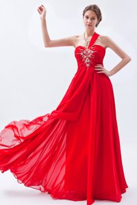 One Shoulder Ruched and Beaded Magnificent Prom Celebrity Dress in Red