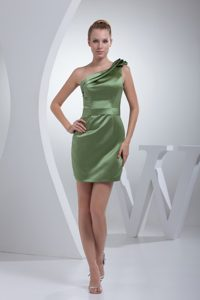 Romantic One Shoulder Zipper-up Olive Green Satin Prom Dresses for Ladies