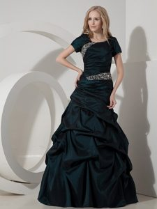 Gorgeous Dark Green Scoop Prom Court Dresses with Zipper-up Back