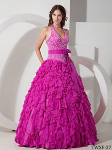 Halter Top Chiffon Quinceanera Dress with Embroidery and Ruffles for Cheap