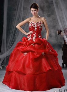 Red Sweetheart Organza Quinceanera Dress with Appliques and Ruching on Sale