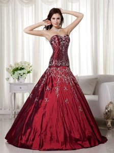 Wine Red Sweetheart Quinceanera Dress with Beading and Embroidery