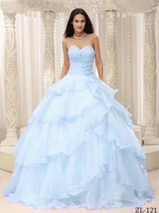 Ready to Wear Light Blue Ruched Quinceanera Dresses