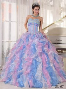 Multicolor Sweetheart Organza Quinceanera Dress with Appliques and Ruffles