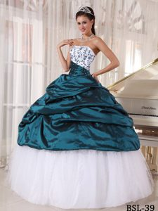 Beautiful Strapless and Tulle Embroidery Decorated Quinceanera Dress