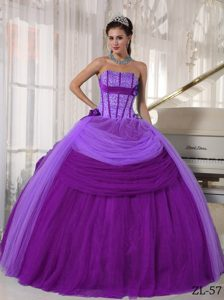 Purple Ball Gown Strapless Tulle Beaded Dress for Quinceanera on Promotion