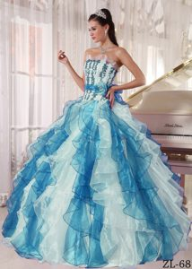 Colorful Strapless Organza Beaded Sweet Sixteen Quinceanera Dress for Cheap
