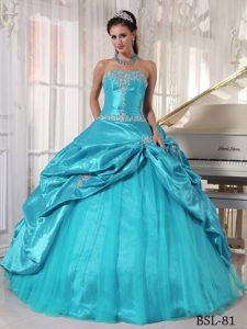 Blue Strapless and Tulle Quinceanera Dress with Appliques for Cheap