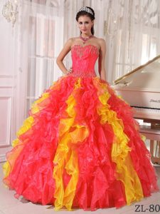New Coral Red and Orange Sweetheart Organza Quinceanera Dress with Sequins