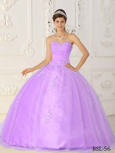 Lavender Sweetheart and Organza Quinceanera Dresses with Appliques