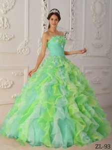 Multicolor Strapless Organza Quinceanera Dress with Ruffled Layers in 2013