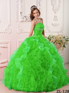 Hot Green Sweetheart Organza Quinceanera Dresses with Appliques and Beading