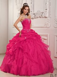 Coral Red Strapless Organza Beaded Quinceanera Dress with Ruffles for Cheap