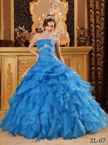 New Organza Beaded Quinceanera Dress with Ruffled Layers on Wholesale Price