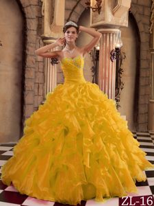 Sweetheart Organza Quinceanera Dress with Ruffles and Beading on Promotion