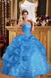 Aqua Blue Strapless Organza Quinceanera Dresses with Embroidery Decorated