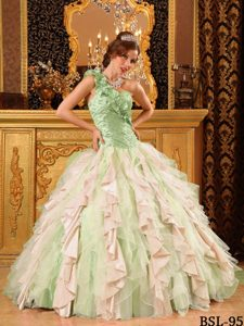 Multicolor One Shoulder and Organza Beaded Ruffled Quinceanera Dress