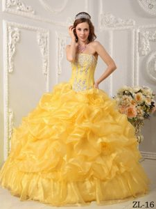 Yellow Strapless Organza Beaded Quinceanera Dress with Pick-ups on Promotion