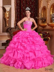 Strapless Organza Beaded and Appliqued Quinceanera Dress with Ruffled Layers