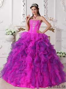Sweetheart Satin and Organza Quinceanera Dress with Embroidery and Ruffles