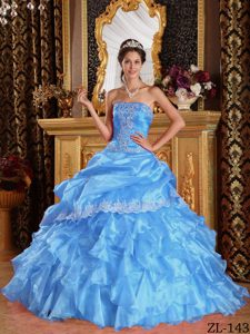 Attractive Baby Blue Strapless Organza Quinceanera Dress on Wholesale Price
