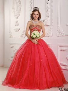 Coral Red Sweetheart Satin and Organza Beaded Quinceanera Dress for Cheap