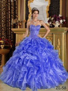 Beading Organza Quinceanera Gown Dress with Ruffles in Baby Blue for 2013