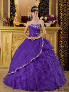 Pretty Sweetheart Appliqued Sweet 15 Dress with Beads and Ruffles in Purple