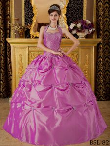 Halter Top 2013 Quinceanera Gown Dress with Appliques in Hot Pink
