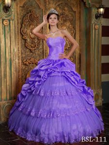 Purple Sweetheart Appliqued Dress for Quinceanera with Layers and Pick-ups