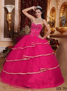 Hot Pink Sweetheart Sweet 15 Dress with Beadings and Gold Hemline in 2012