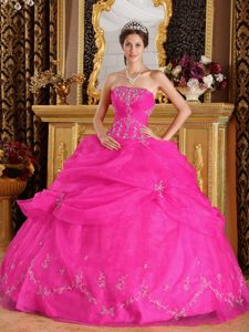 Cheap Hot Pink Sweet Sixteen Dresses with Appliques and Strapless on Sale
