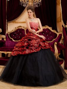 Red and Black Strapless Quinceanera Gown Dresses with Beadings and Zebra