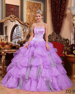 Ruffled Lavender and Gray Sweet Sixteen Dresses in Organza with Appliques