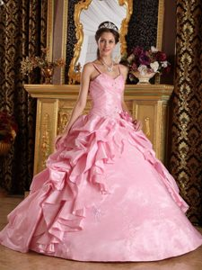 Pink Ruffled Quinceanera Gown with Spaghetti Straps and Handmade Flower